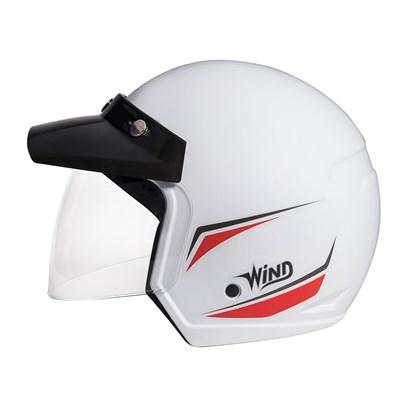 Capacete Wind Shield Tecno Branco Vermelho